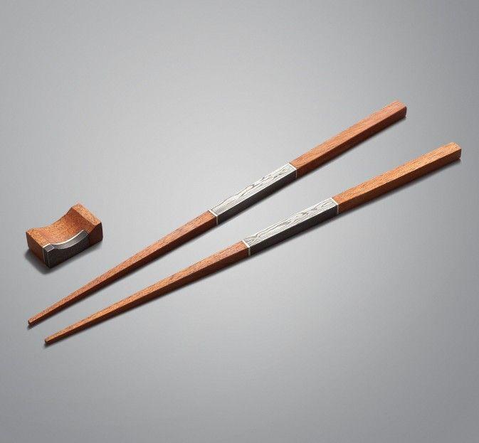 Damascus, Silver & Mahogany Chopsticks