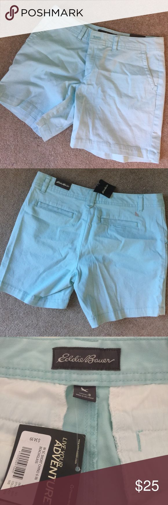 Light blue Eddie Bauer shorts. NWT Slightly curvy fit. 98% cotton 2% spandex. 5 1/2 inch inseam. SD Eddie Bauer Shorts