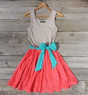 : Coral, Color Combos, So Cute, Cute Dresses, Bright Color, Summer Color, Color Combinations, Cute Summer Dresses, Casual Summer Outfit