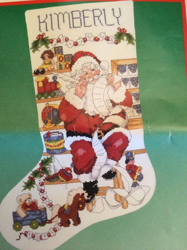 "Santas Workshop Christmas Stocking Cross Stitch Kit Toys Rehfeld 16"" Dimensions #Dimensions #stocking"