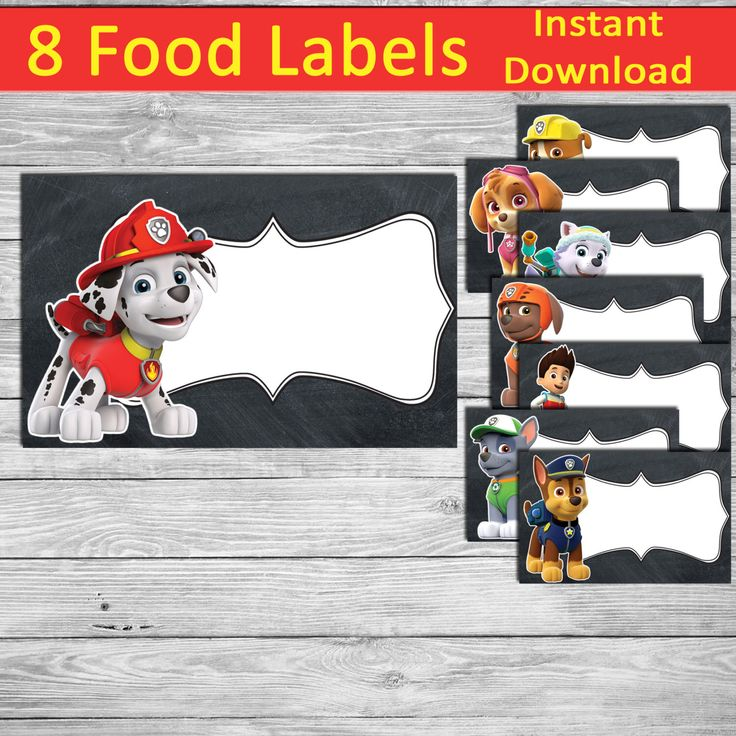 Paw Patrol Food Labels - Paw Patrol Party - 8 Printable Paw Patrol Tents - Paw Patrol Birthday - Paw Patrol Decoration - instant download by DigitalStudioBY on Etsy https://www.etsy.com/listing/273487516/paw-patrol-food-labels-paw-patrol-party