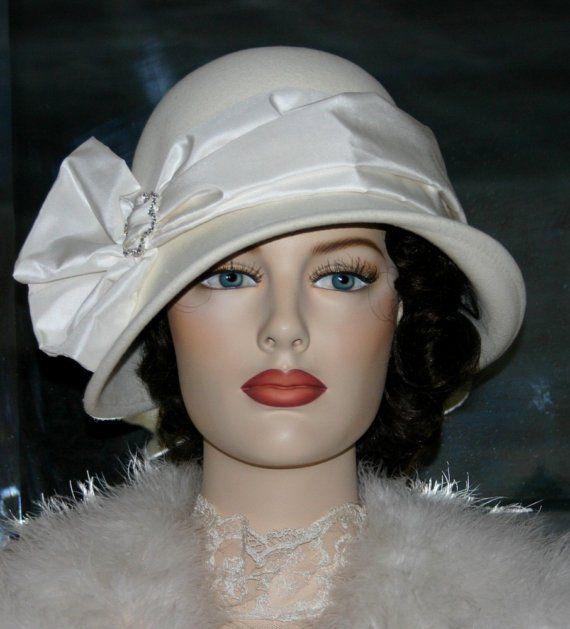 Flapper Hat Edwardian Style Tea Hat Wedding Hat Church hat NEW design by Darna Lady Josephine Ivory Cloche Hat