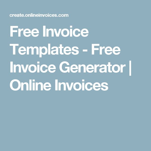 Free Invoice Templates - Free Invoice Generator | Online Invoices