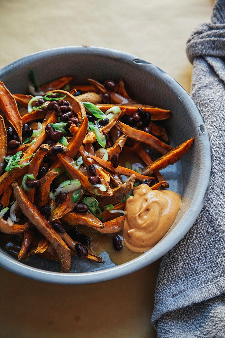 curry garlic sweet potato fries w/ miso gravy » the first mess