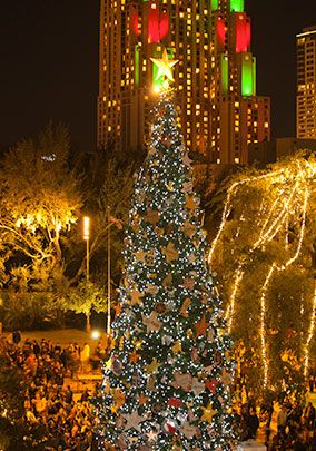 This beautiful Christmas tree is lit in Alamo Plaza, marked by a special visit from Santa.