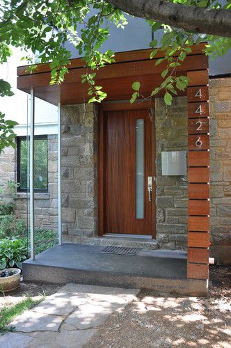 MANION+MARTIN Architects, P.C.  // DC Metro modern porch - wood, metal, glass, concrete, stone, modern house numbers, modern mailbox