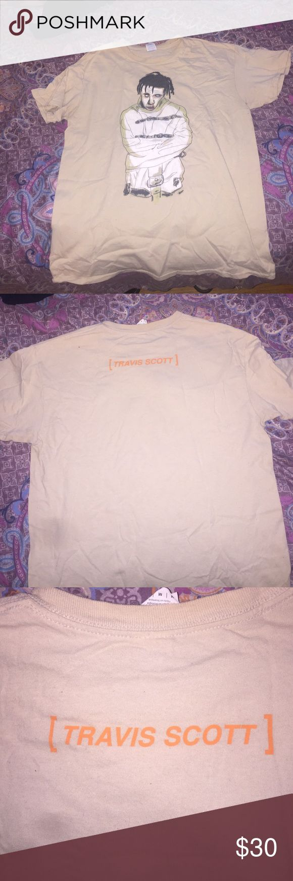 RARE Travi$ Scott Halloween Tee Rare limited edition Travis Scott Halloween Tee; purchased from a madness tour stop. Gently used and has been washed and sitting in my dresser drawer Looking to trade for Kanye St. Pablo tour merch! Serious inquires only! Travi$ Scott Shirts Tees - Short Sleeve