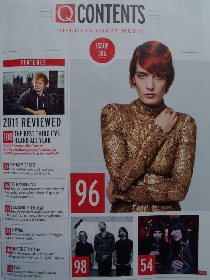 Q magazine, contents page