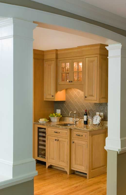 Small Bar Area Wlighted Upper Cabinets Prep Sink And