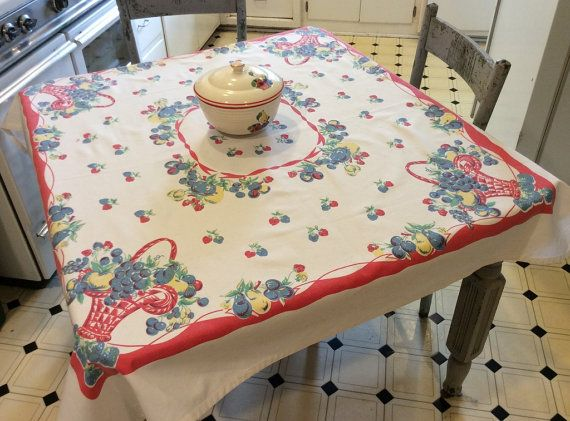 Vintage Tablecloth Reproduction Fun Fruit Baskets