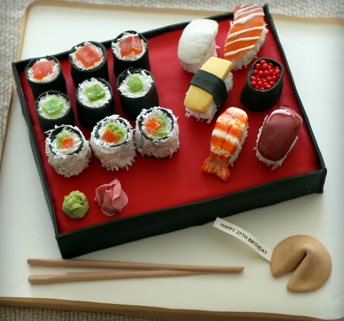 .: sushi cake- for the boys bday