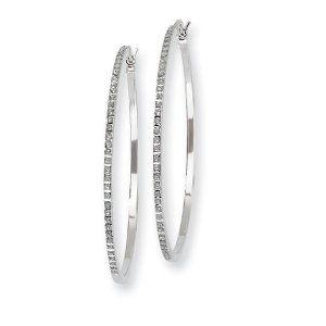 Sterling Silver Diamond Mystique Round Hoop Earrings Jewelry Adviser Hoop Earrings. $88.12