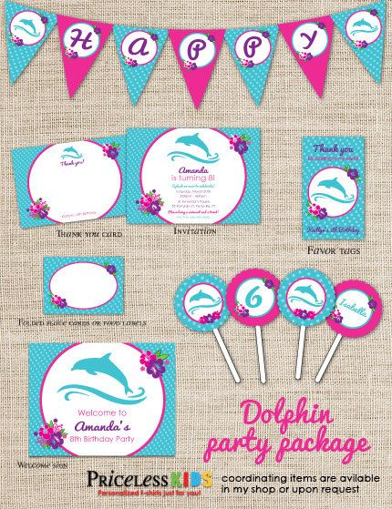 Personalized dolphin party package - dolphin party printables