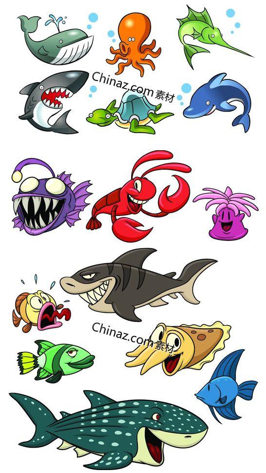 Cartoon sea animal vector material