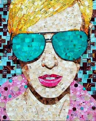 Schimmel Art  Through pieces like this one Sandhi reflects society's obsession with beauty through advertising. She mosaics thousands of paper tiles she cuts from advertisements and junk mail that would otherwise go to waste into eclectic and tactile portraits.