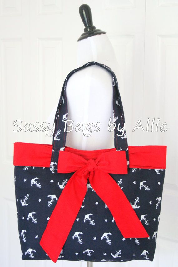Navy Anchor Handbag with Red Bow-Large Nautical Purse-White Anchors and Stars on Etsy, $45.00