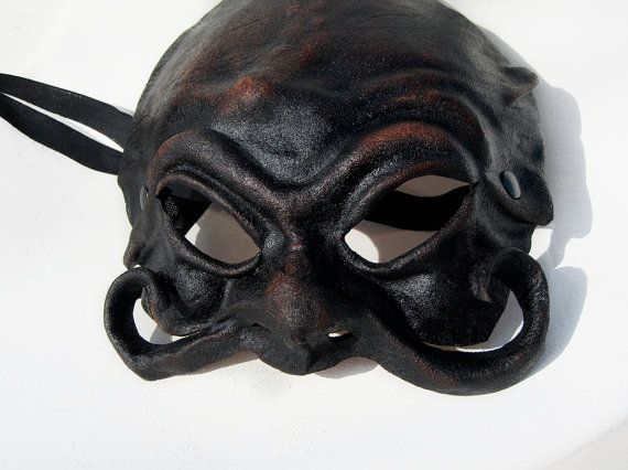 Harlequin with mustache mask black dark leather by MaschereFabula