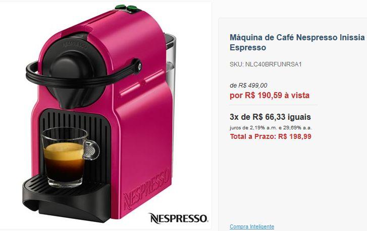Máquina de Café Nespresso Inissia Fuchsia Velvet para Café Espresso << R$ 19056 >>