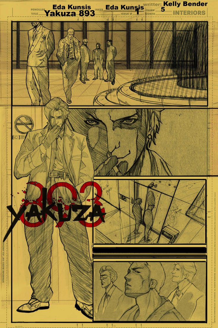 Sketch page 5 from the series Yakuza 893. This book is getting ready for a publishers pitch for winter 2014. The complete first issue will be handed out to publishers, for their consideration at EMERALD CITY COMIC CON in March 2015. Follow us on facebook: Writter: Kelly Bender: www.facebook.com/... Artist: Eda Kunsis: www.facebook.com/... A publishing by Evil Moose Comics: www.facebook.com/...