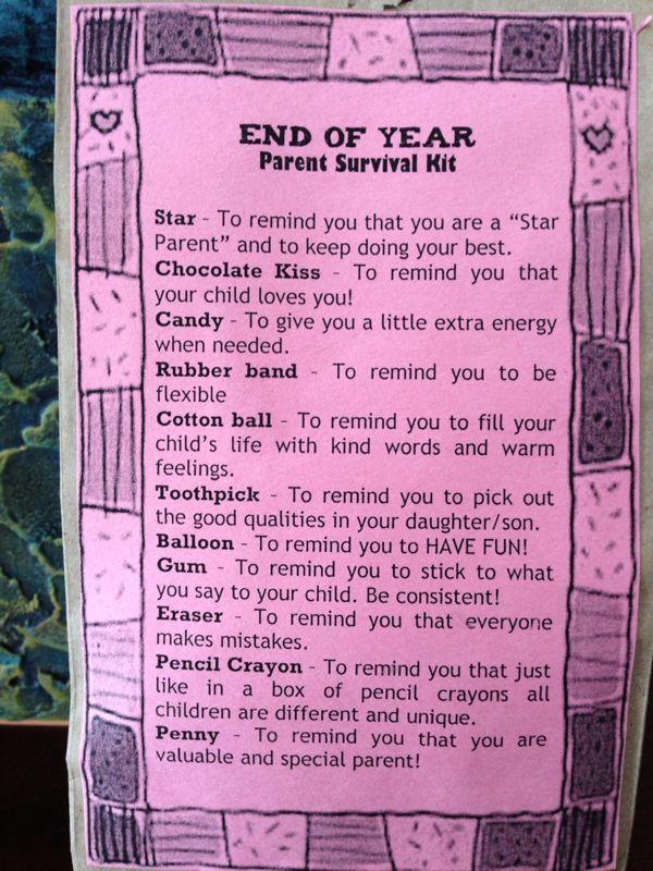 Parent survival kit | Preschool Poems | Pinterest