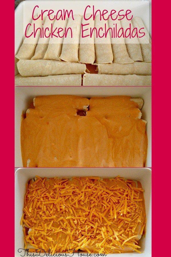 Cream Cheese Chicken Enchiladas With Sour Cream Red Sauce Recipe Cream Cheese Chicken Enchiladas Cream Cheese Chicken Best Enchilada Recipe Ever