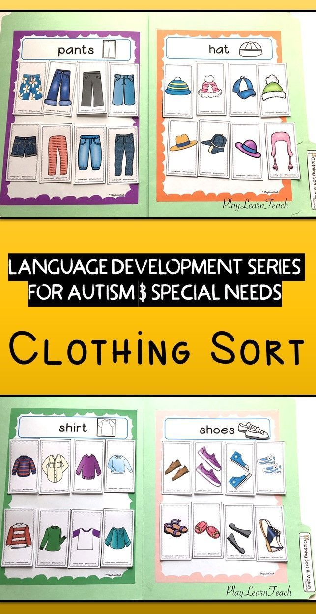 Students sort non-identical clothing images onto mats for shirts, pants, shoes, & hats. Perfect for students on the Autism Spectrum, in Early Childhood, Early Intervention, ESL, Occupational Therapy, Special Education or Speech Therapy classes; compliments ABA and TEACCH strategies.