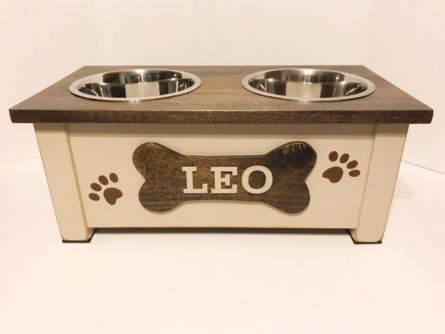 Dog Bowl,Rustic Pet Feeder, Personalized Dog Bowl, Raised Dog Feeder, Elevated Dog Feeder, Dog Feeding Station, Dog Dish , Pet Supplies by EatAndBark on Etsy
