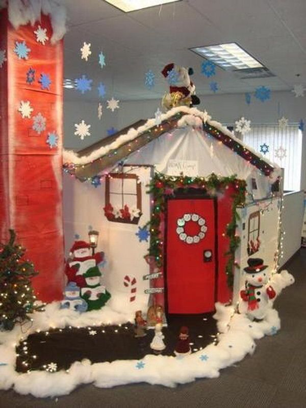 7 best holidays at work images on pinterest cubicle for Cubicle decoration xmas