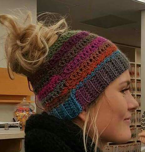 How ridiculously cute is this hat? I think I found my next project! UPDATE - Please read! The pattern that I have created was inspired by this picture. It is crocheted and is slightly different. http://www.ravelry.com/patterns/library/pony-tail-hat-4 I shared this photo as inspiration and to show my friends - never did I think that when I woke up the next morning it would be viral! It was a random picture that I found online!