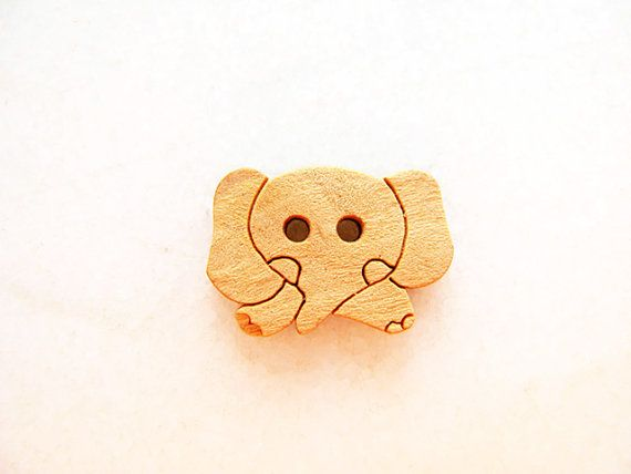 Cute Elephant  Wood Buttons Children Buttons Sewing by nezoshop, $2.60