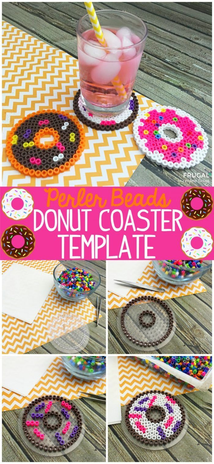 Perler Beads Donut Coaster Template on Frugal Coupon Living - perfect summer bucket list project or perler bead project idea for the kids! FREE custom donut template to print now!
