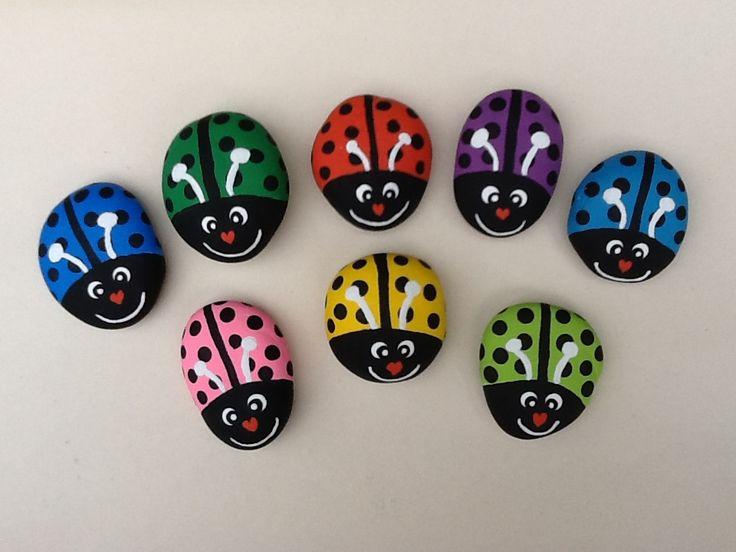 Hand painted Ladybug rocks by Phyllis Plassmeyer
