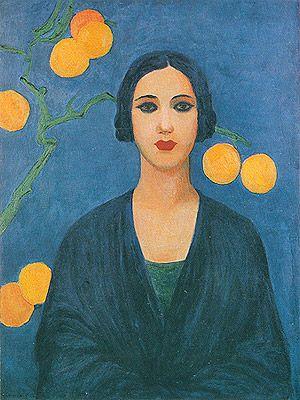 Tarsila do Amaral  (Brazilian, 1886 -1973) - Figure in blue, 1923