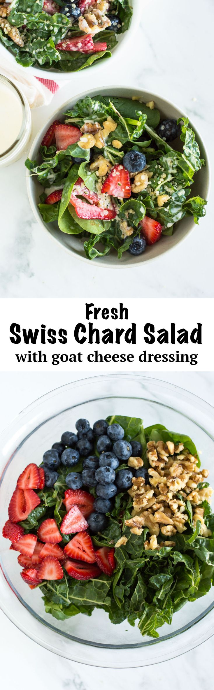 Fresh Swiss Chard Salad | nourishedtheblog.com | A Swiss Chard Salad recipe. A gluten free and vegetarian-friendly summer salad with fresh swiss chard, strawberries, blueberries and nuts tossed in an easy homemade goat cheese dressing.