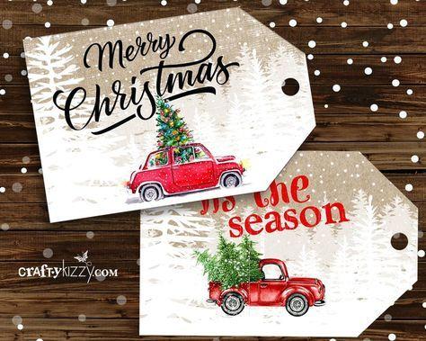 Red Truck Frohe Weihnachten gefallen Tags – Handwerk Tags – Vintage Red Car Tags – Urlaub Tags – INSTANT DOWNLOAD