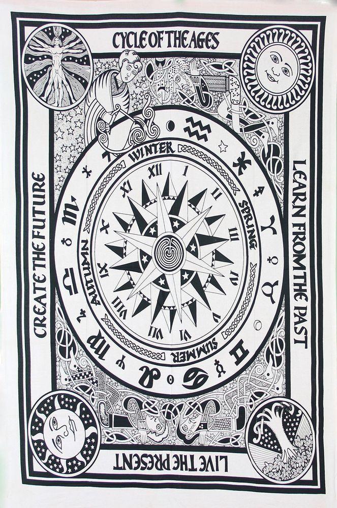 Indian Tapestry Wall Hanging Mandala Hippie Cover Bedspread Throw Bohemian Decor #Handmade #ArtDecoStyle