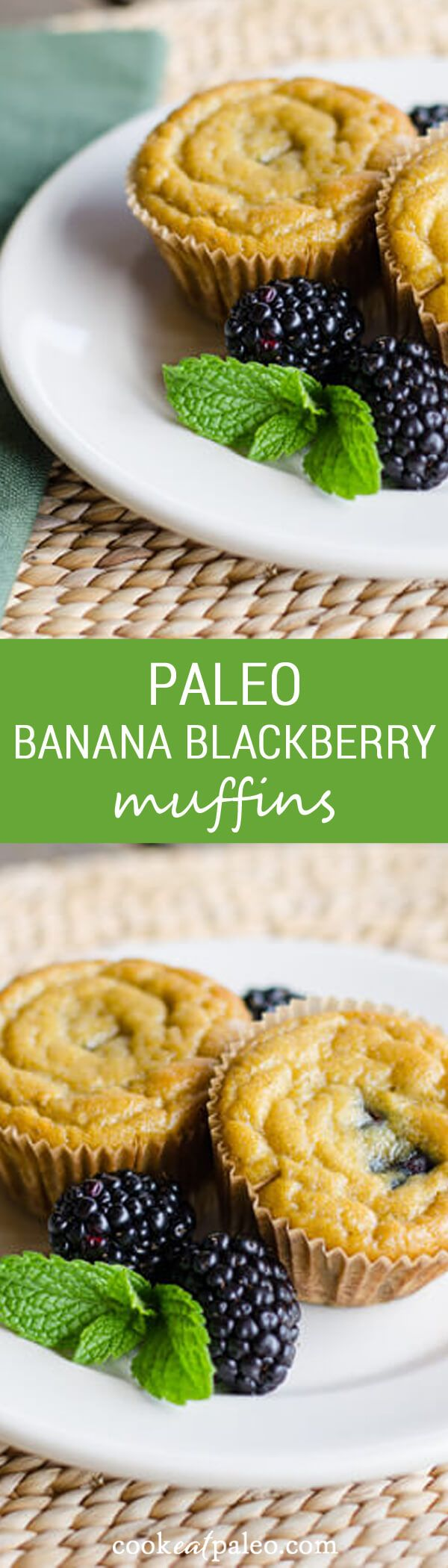 This paleo banana blackberry muffins recipe is gluten-free, grain-free and dairy-free. The blackberry and banana flavor combination really delivers. ~ http://cookeatpaleo.com