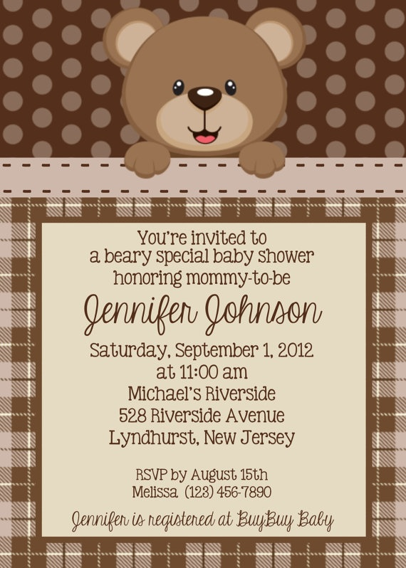 Teddy Bear Invitation - Personalized Custom Teddy Bear Baby Shower Birthday Invitation Print Your Own
