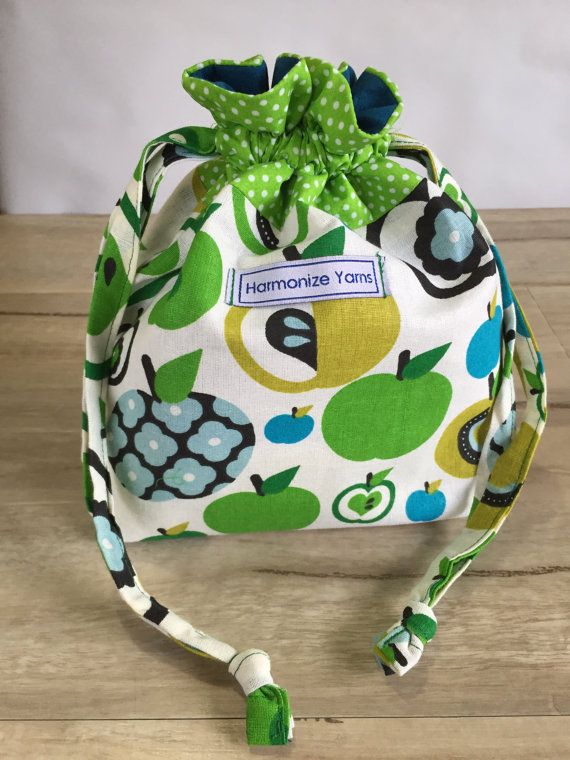 Green Apple Knitting or Crochet Drawstring Project Bag