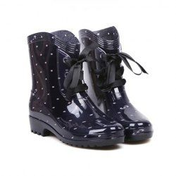 $8.49 Fashion Women's Rain Boots With Lace-Up and Round Toe Design