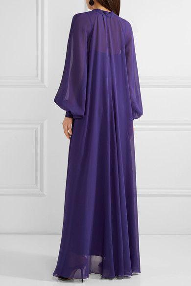 Lanvin | Pussy-bow silk-chiffon maxi dress | NET-A-PORTER.COM