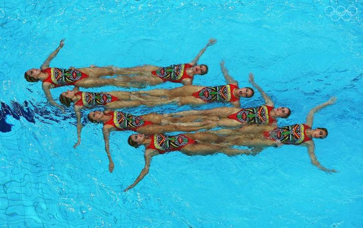 BEIJING - AUGUST 23: The Spainish team compete on their way to winning the silver medal in the Team Event Free Routine Final during the synchronised swimming held at the National Aquatics Center on Day 15 of the Beijing 2008 Olympic Games on August 23, 2008 in Beijing, China. (Photo by Clive Rose/Getty Images)