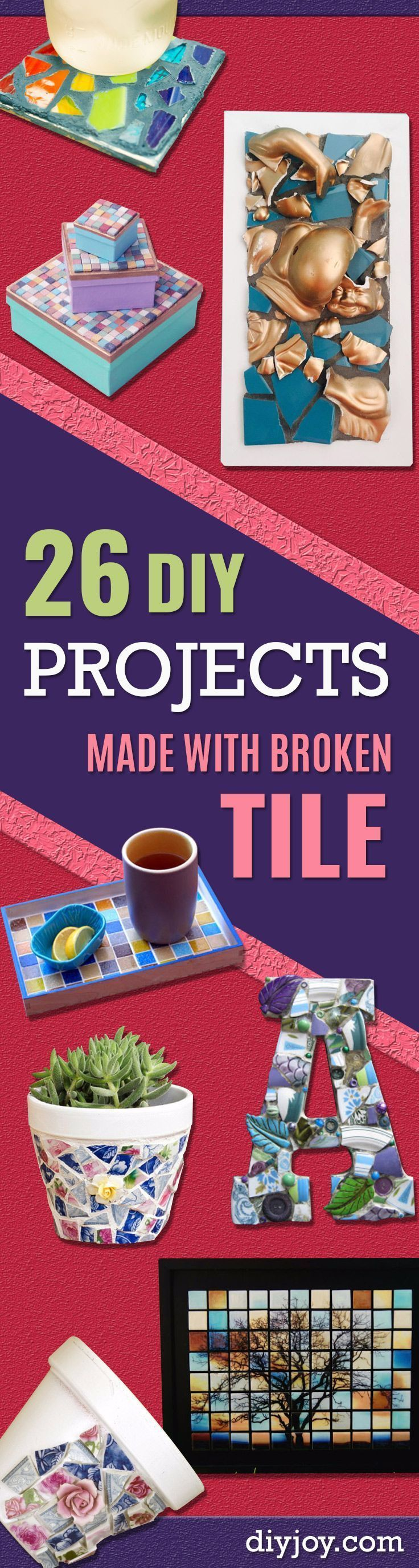 DIY Projects Made With Broken Tile - Best Creative Crafts, Easy DYI Projects You Can Make With Tiles - Mosaic Patterns and Crafty DIY Home Decor Ideas That Make Awesome DIY Gifts and Christmas Presents for Friends and Family http://diyjoy.com/diy-projects-broken-tile