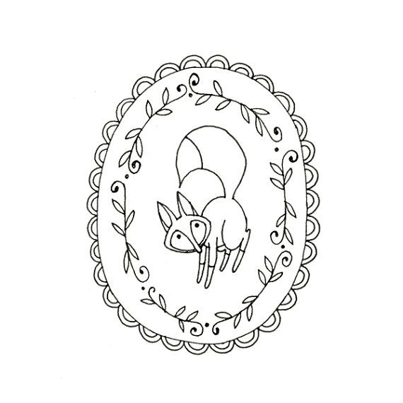 Fox Embroidery Pattern Woodland Animal by teenytinyhappythings - just bought the pattern, will look nice with felt fox