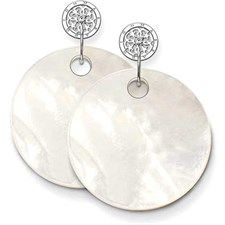 Mop Disc White Cz Earring-H1761-030-14