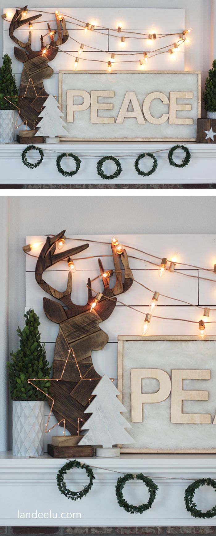 A neutral, gold, white and wood tones DIY Christmas mantel that is also festive and cozy! A beautiful combination of textures and natural elements.