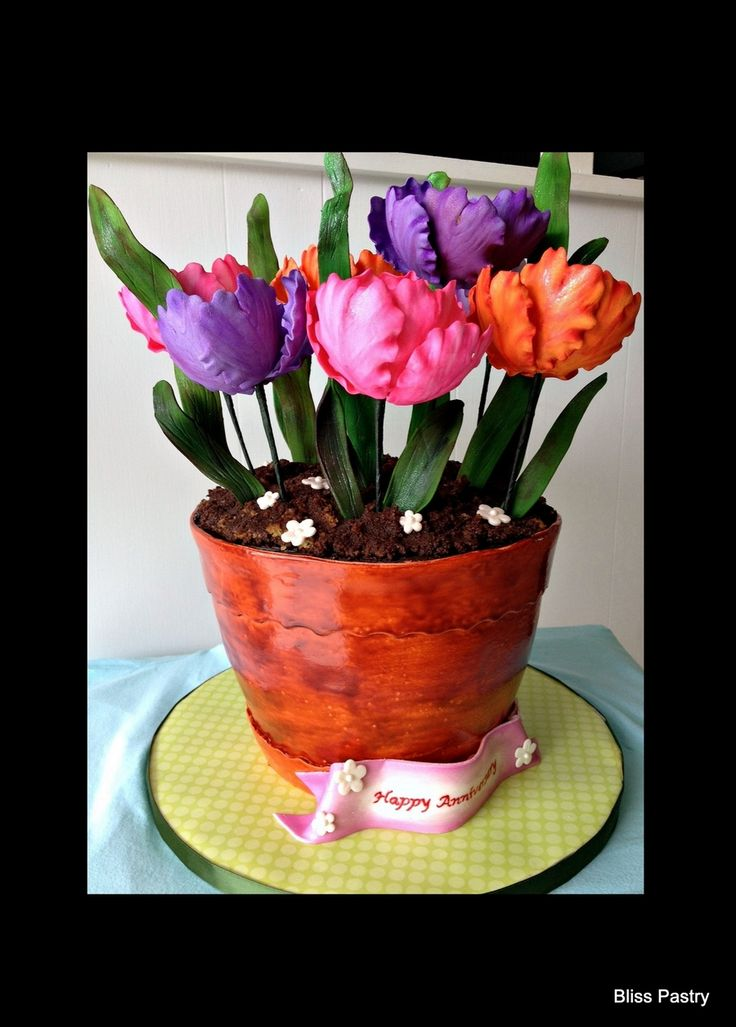 Flower Pot With Tulips on Cake Central