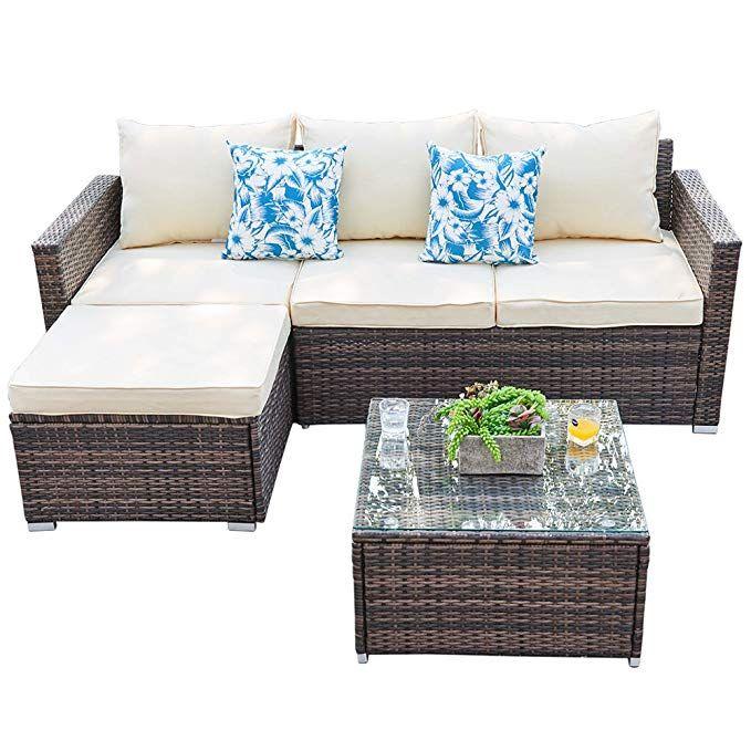 Weather Wicker Rattan Sectional Set, Patio Furniture 3 Piece Sectional Sofa Resin Wicker Beige
