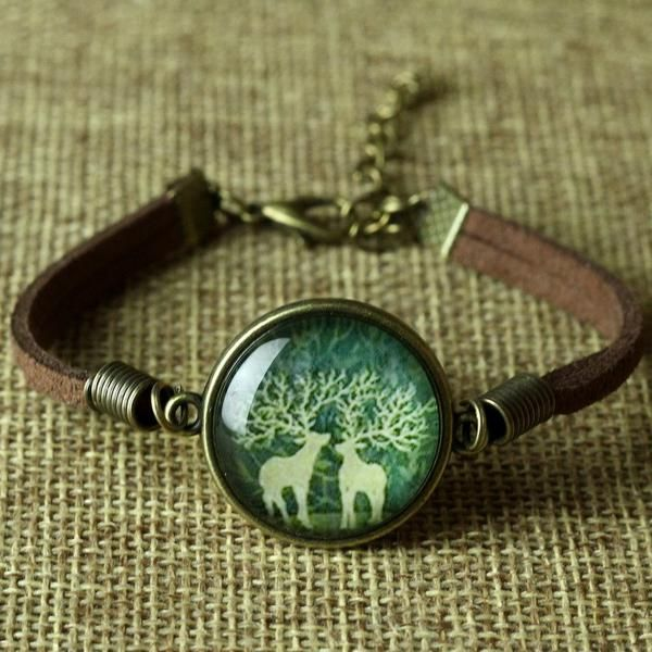 Glass Galaxy Leather Bracelet Animal Horse Cat Deer Fashion Jewelry