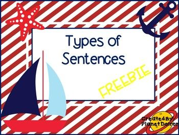 This free product includes:  4 types of sentences poster/anchor chart  Pictorial visual of 4 types of sentences with examples anchor chart  Proofreading a sentence poster/anchor chart     Please take the time to provide feedback and be sure to follow my store.